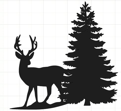 Deer in snow clip. Winter clipart silhouette