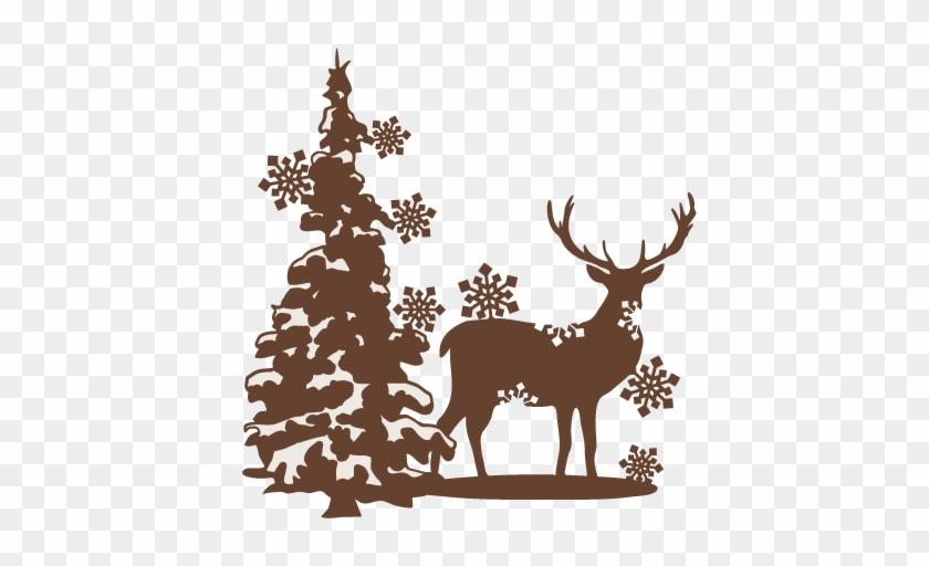 Reindeer scene in silhouette. Deer clipart snow