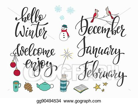 Eps vector hello december. Clipart winter february