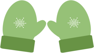 Christmas green winter clip. Mittens clipart printable