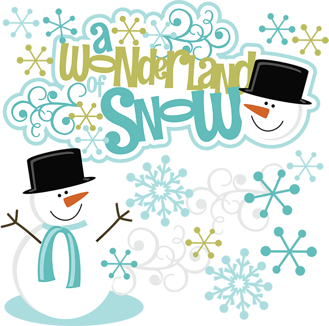 A wonderland of snow. Clipart winter scrapbook