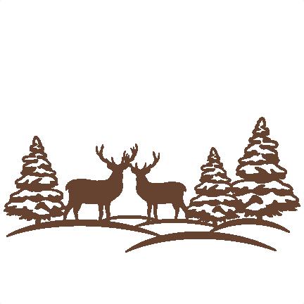 Scene svg scrapbook cut. Winter clipart reindeer