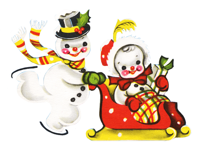 Snowman clipart colorful. Two snowmen at christmas