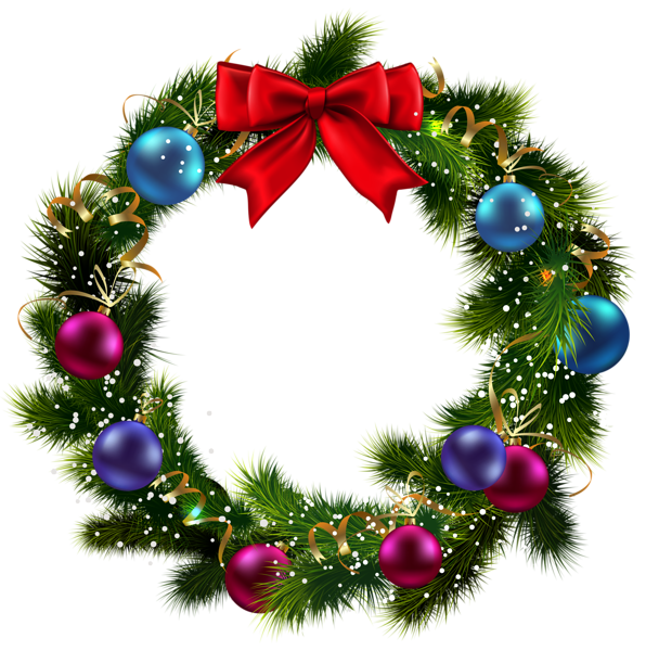 Transparent christmas decorated png. Mistletoe clipart small wreath