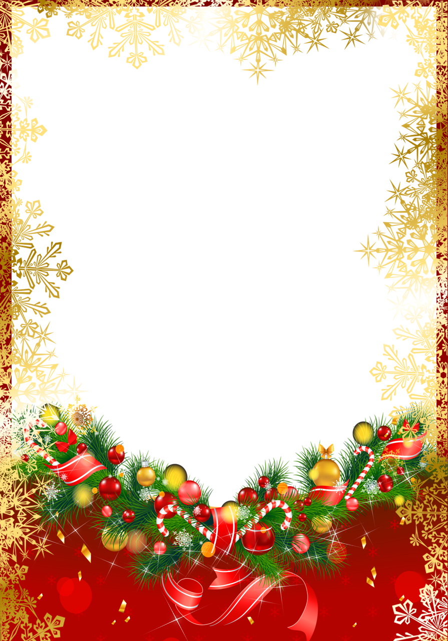 Red christmas png frame. Garland clipart snowflakes