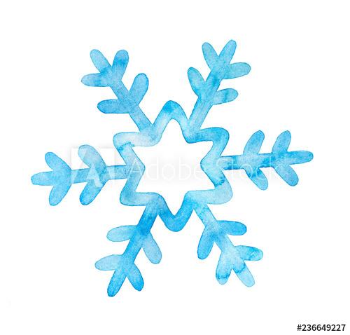 Cute festive watercolor illustration. Clipart snowflake cut out