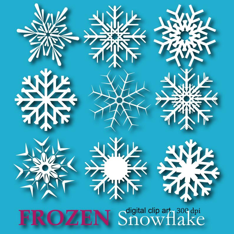 Frozen clipart snowflakes. Snowflake digital paper edible