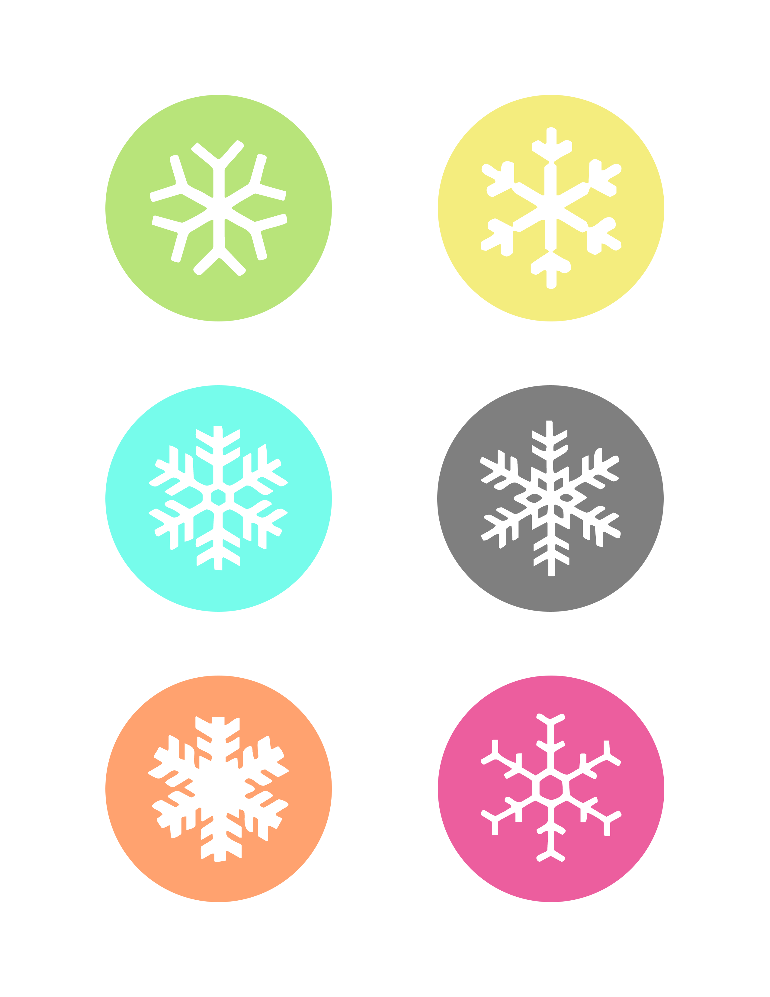 Free snowflake gift tags. Colors clipart printable
