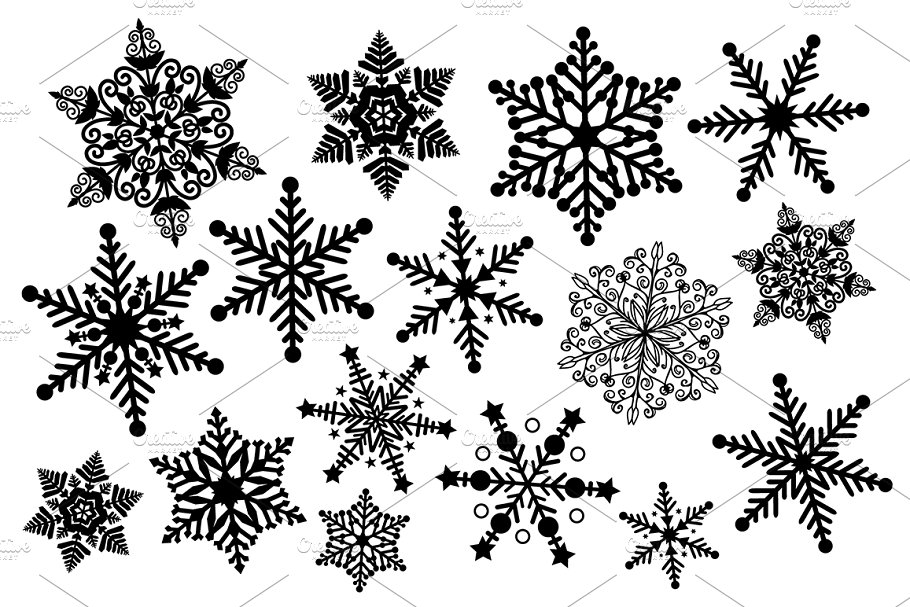 Clipart snowflake illustration. Black and white