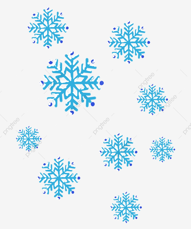 Clipart snowflake illustration. Winter snowflakes blue falling