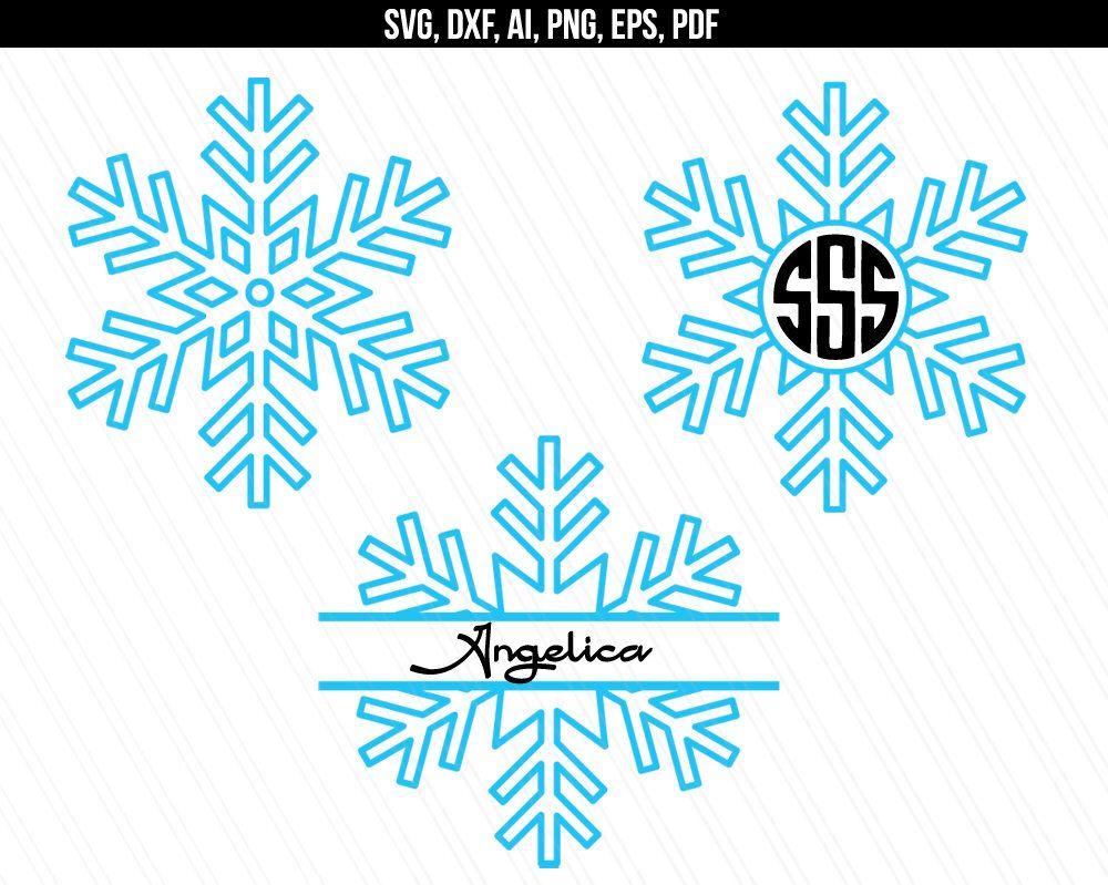 Svg monogram . Snowflake clipart pdf