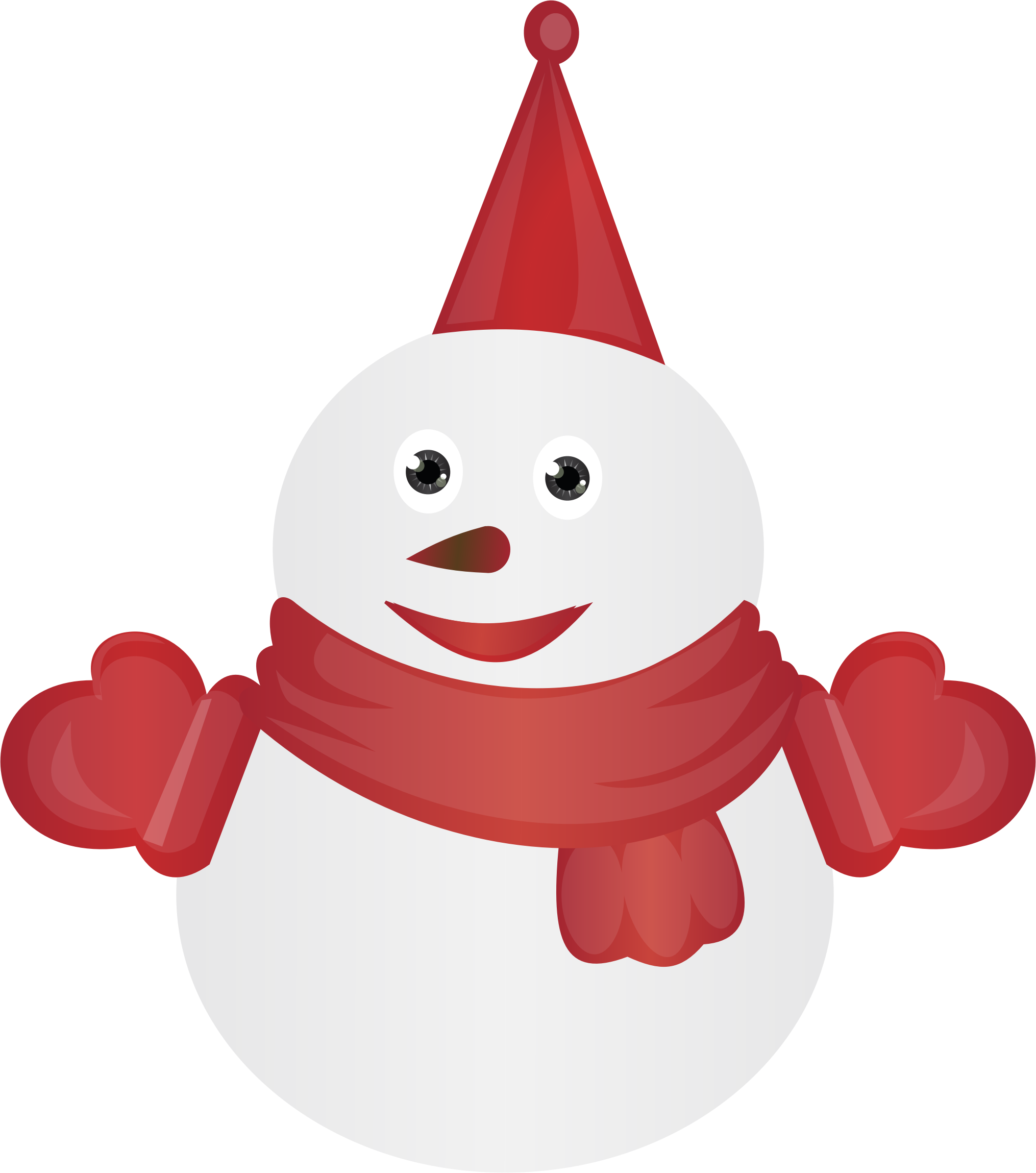 snowman clipart red