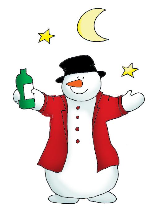 Drinking clipart christmas. Snowman on skis drunken