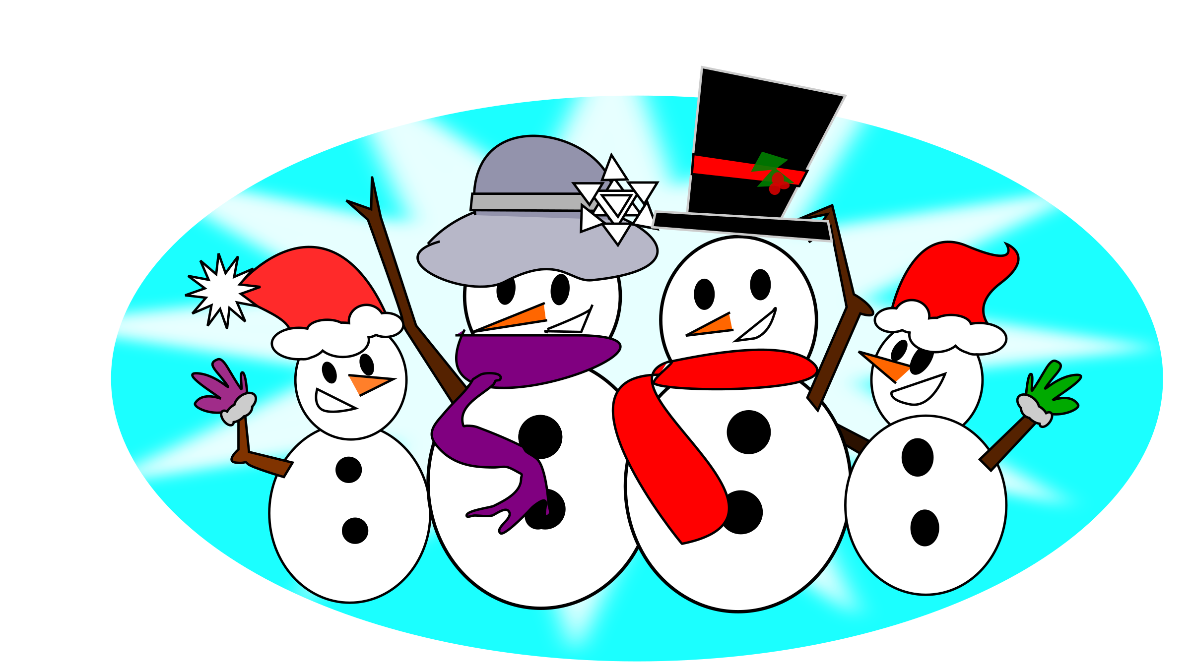 February clipart sign. Snowman family big image
