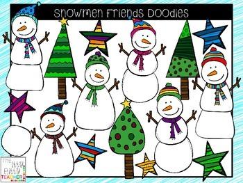 Snowmen doodles . Clipart snowman friends
