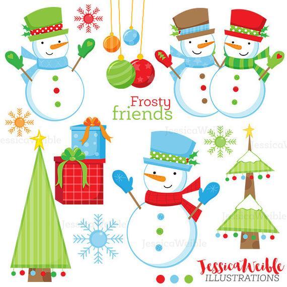 Clipart snowman friends. Frosty cute digital christmas