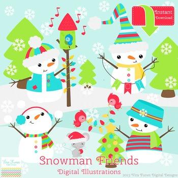 Clip art . Clipart snowman friends