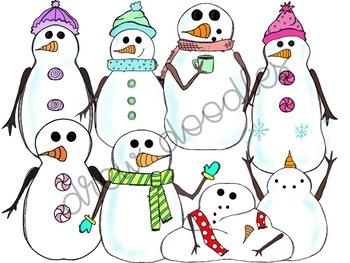 Digital . Clipart snowman friends