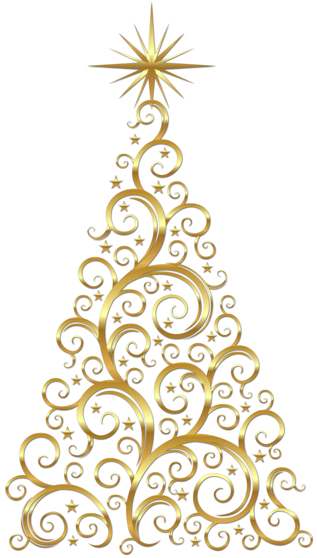 Gold tree trees pinterest. Scroll clipart christmas