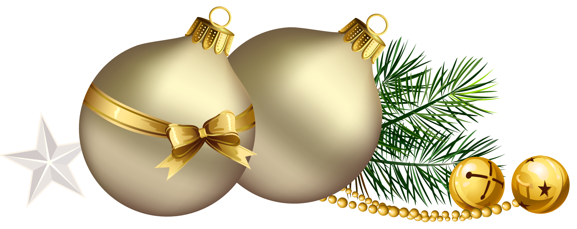 Christmas balls with pine. Gold clipart xmas