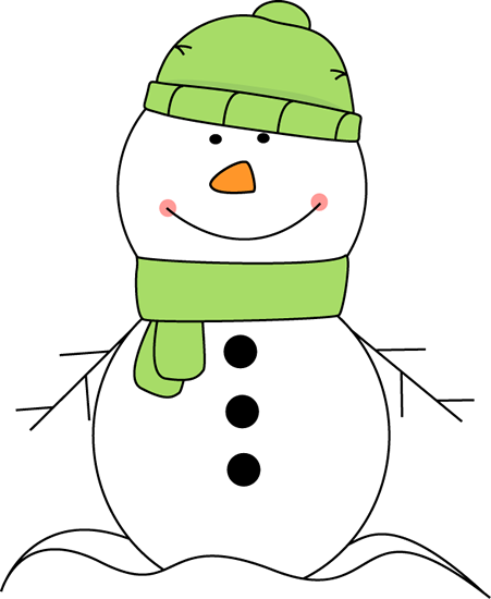 Snowman clipart green. Cute wearing a hat