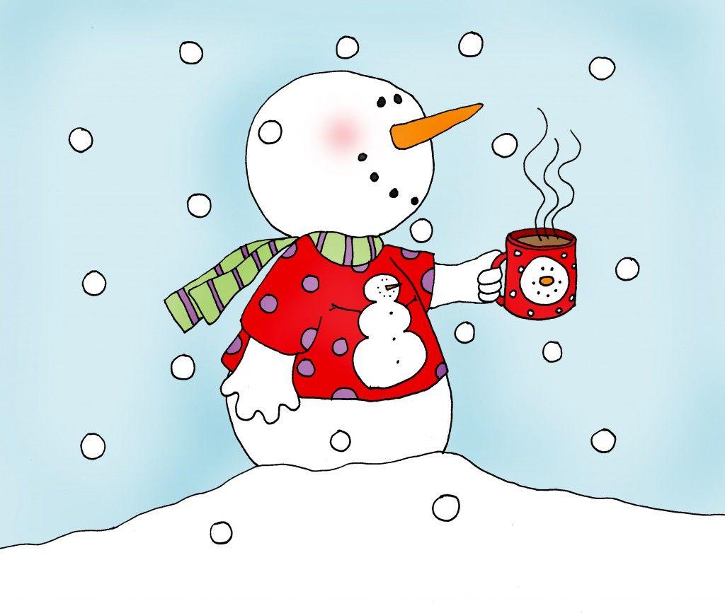 Snowman clipart hot chocolate. Little color dearie dolls