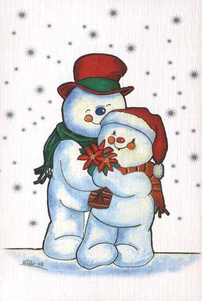 Winter snowman hugs snowmen. Hugging clipart christmas