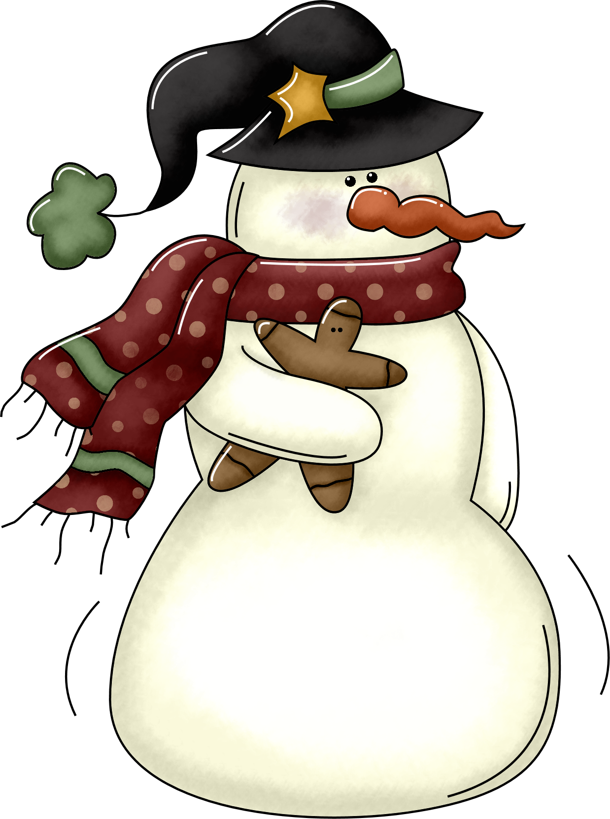 Small kid wine bottle. Snowman clipart country