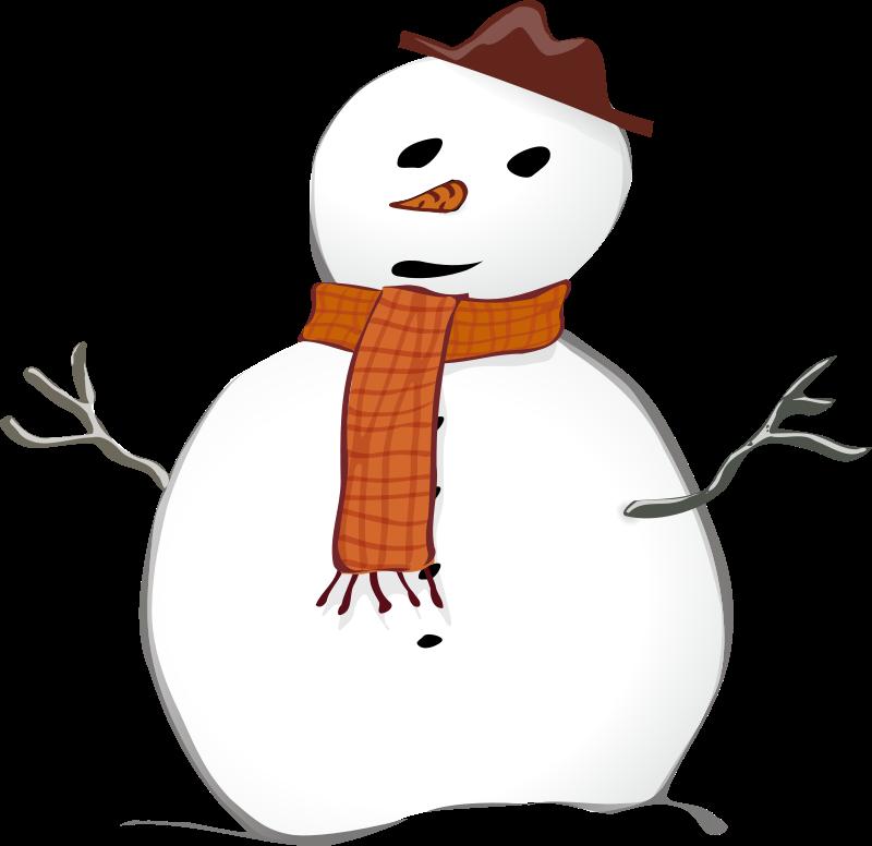 Free stock photo illustration. Snowman clipart landscape
