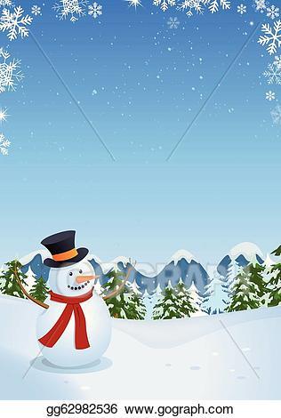 Snowman clipart landscape. Eps illustration in winter