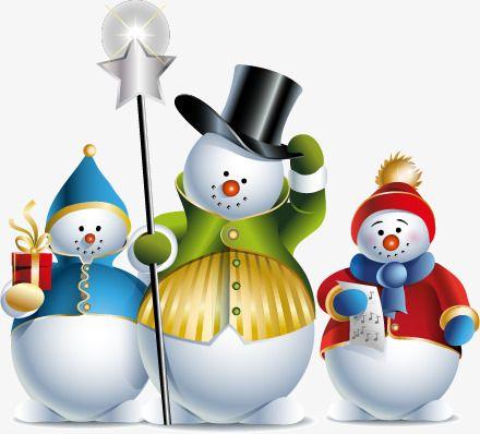 Christmas snow background . Snowman clipart landscape