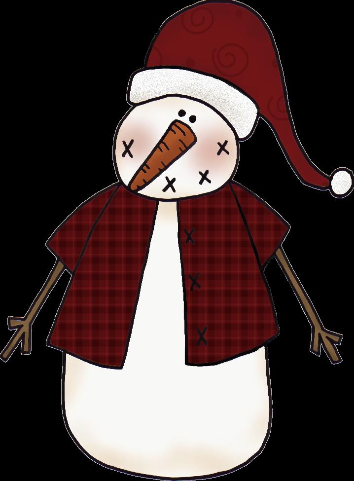 Clip art christmas snowman. Country clipart primitive