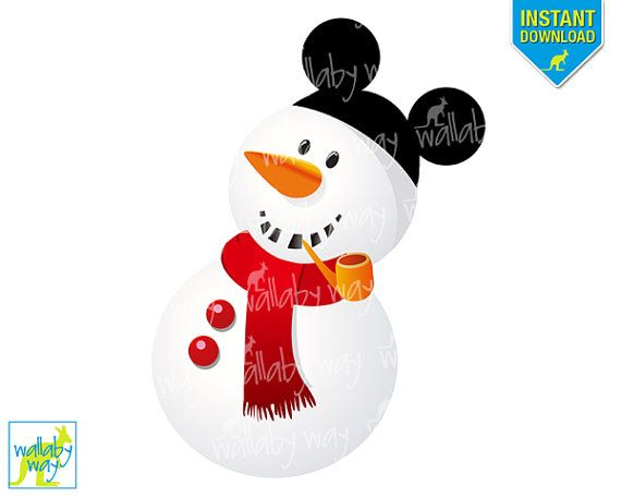 Christmas printable iron on. Clipart snowman mickey