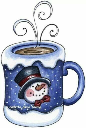 Winter clipart mug. Snowman good morning snowmen