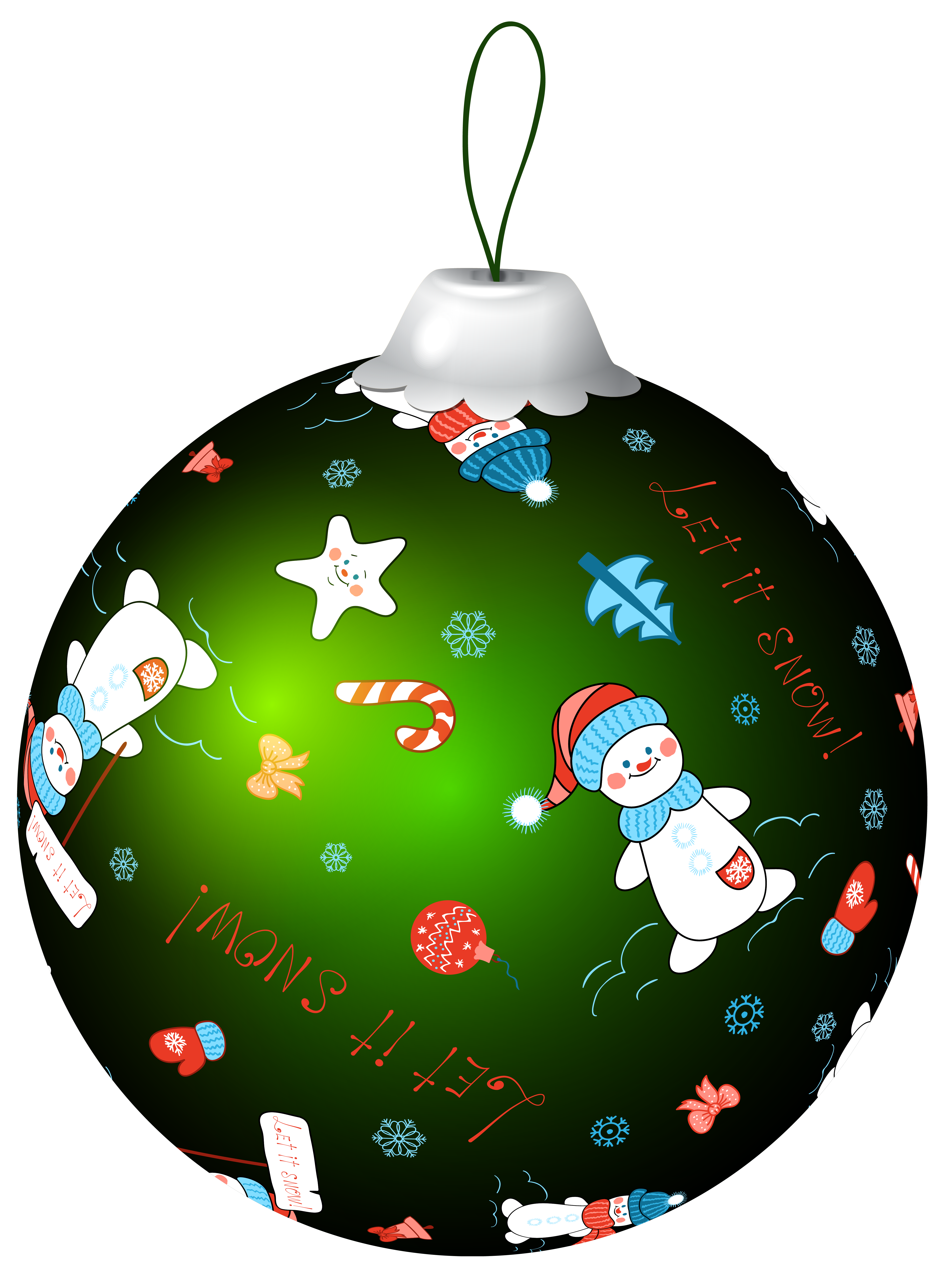 Clipart snowman ornament. Green christmas ball with