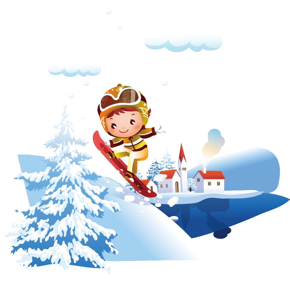 Pomegranate clipart winter. Skiing cartoon illustration snow