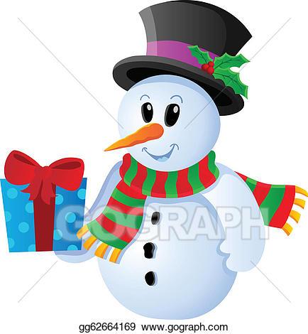 Vector art winter image. Snowman clipart theme