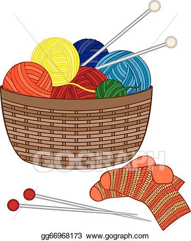 Vector knitting with wool. Clipart socks basket