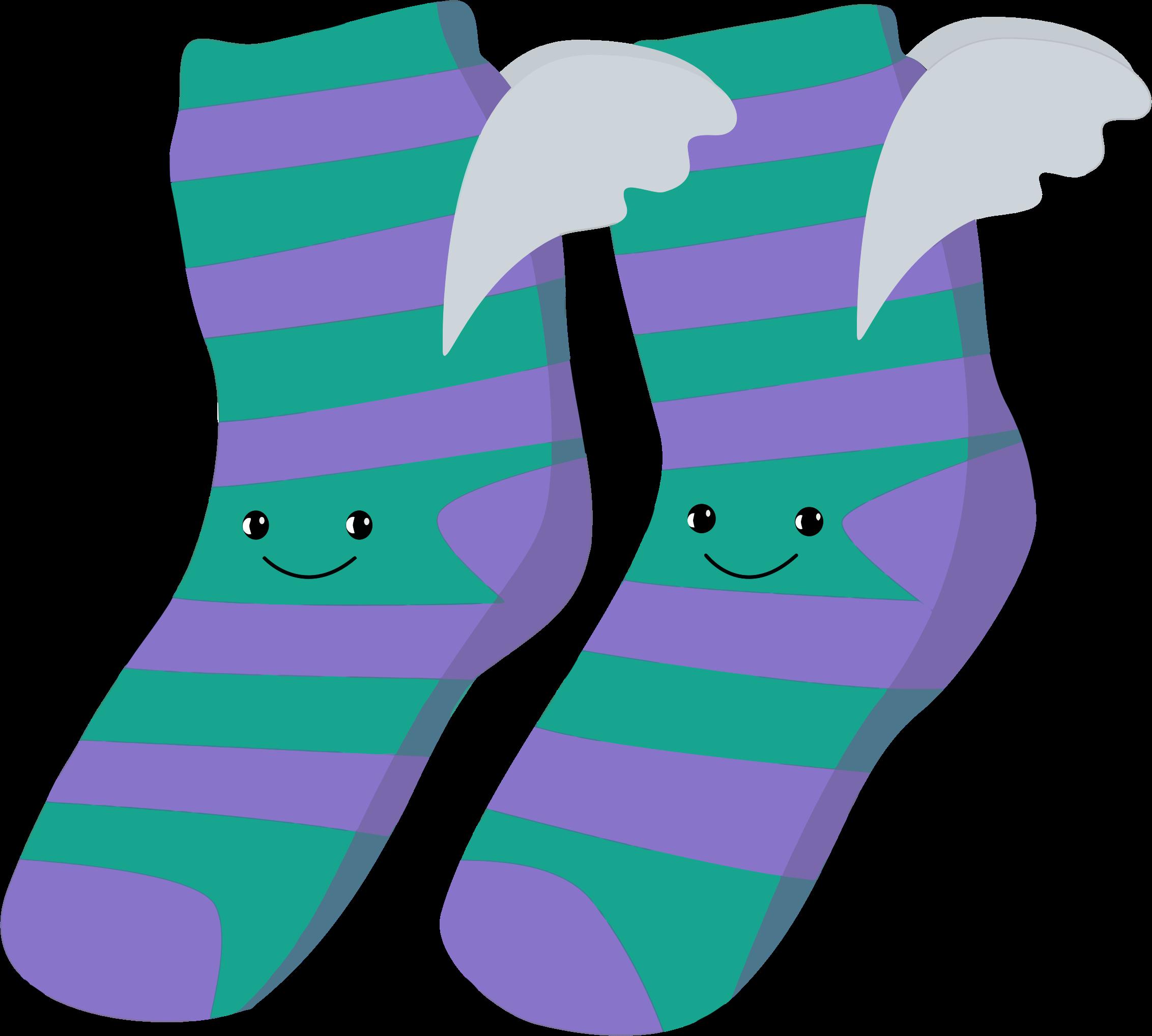 Anthropomorphic winged big image. Purple clipart socks