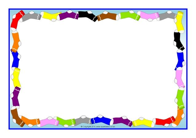 Sock clipart border. Themed a page borders