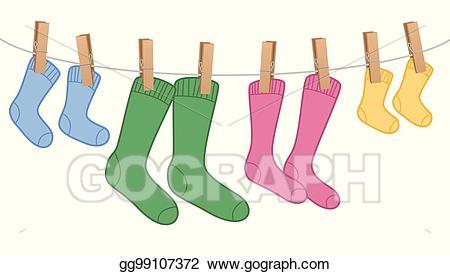 Clipart socks clothesline clipart. Vector stock clothes line