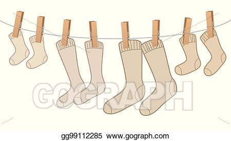 Vector cotton on family. Clipart socks clothesline clipart