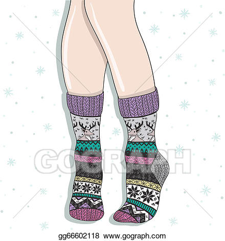 Vector art woman wearing. Clipart socks lady