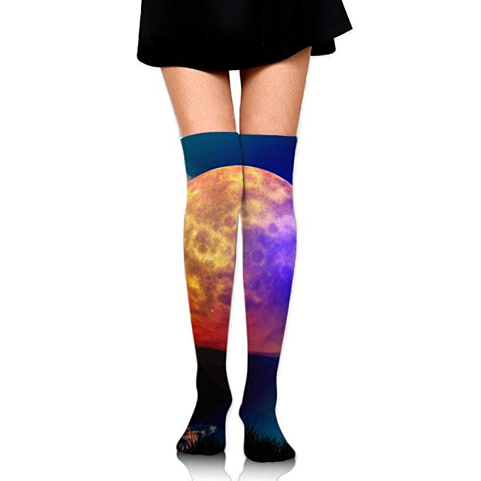 Sock clipart night. Moon print casual knee
