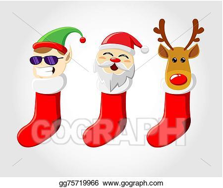 Vector art christmas drawing. Clipart socks sox