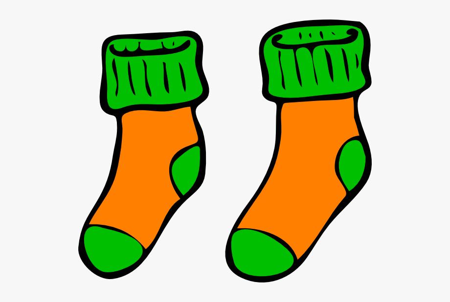 Orange green sock clip. Clipart socks sox