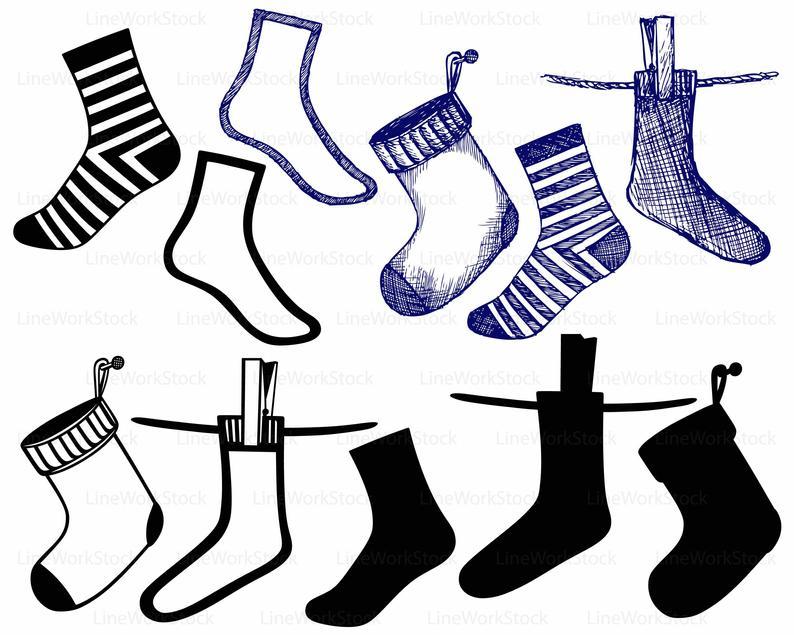 Clipart socks svg. Silhouette cricut cut files