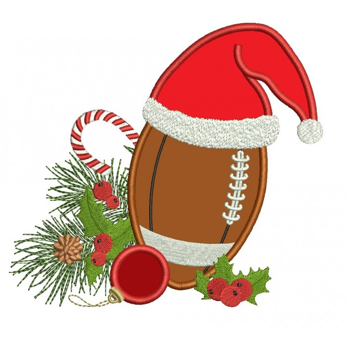 Football applique machine embroidery. Sports clipart christmas