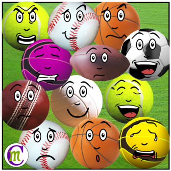 Emoji clipart sport. Sports bundle balls clip