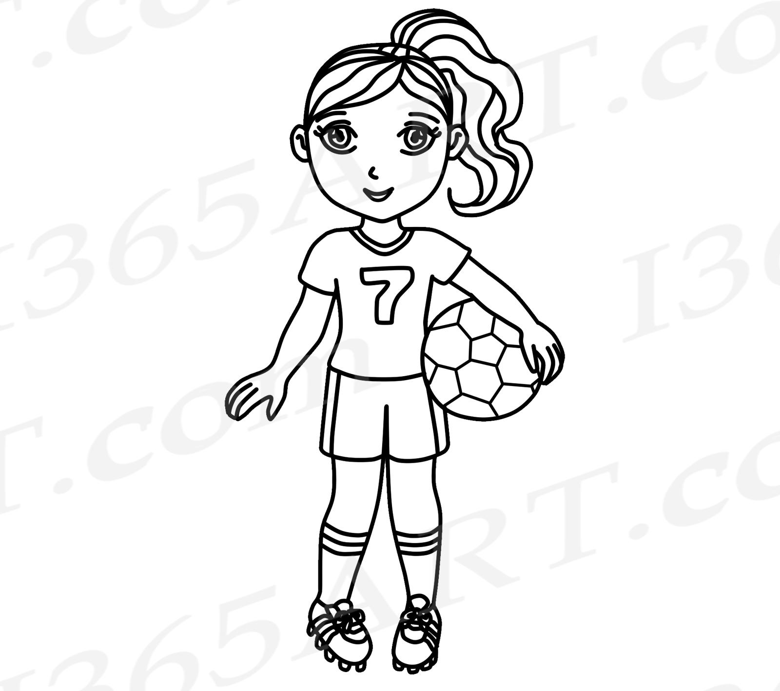 Clipart sports line art. Soccer pink girl clip